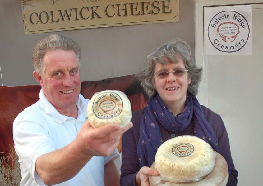Alan and Jane Hewson of Belvoir Ridge Creamery with their Colwick Cheese EMN-160906-165038001
