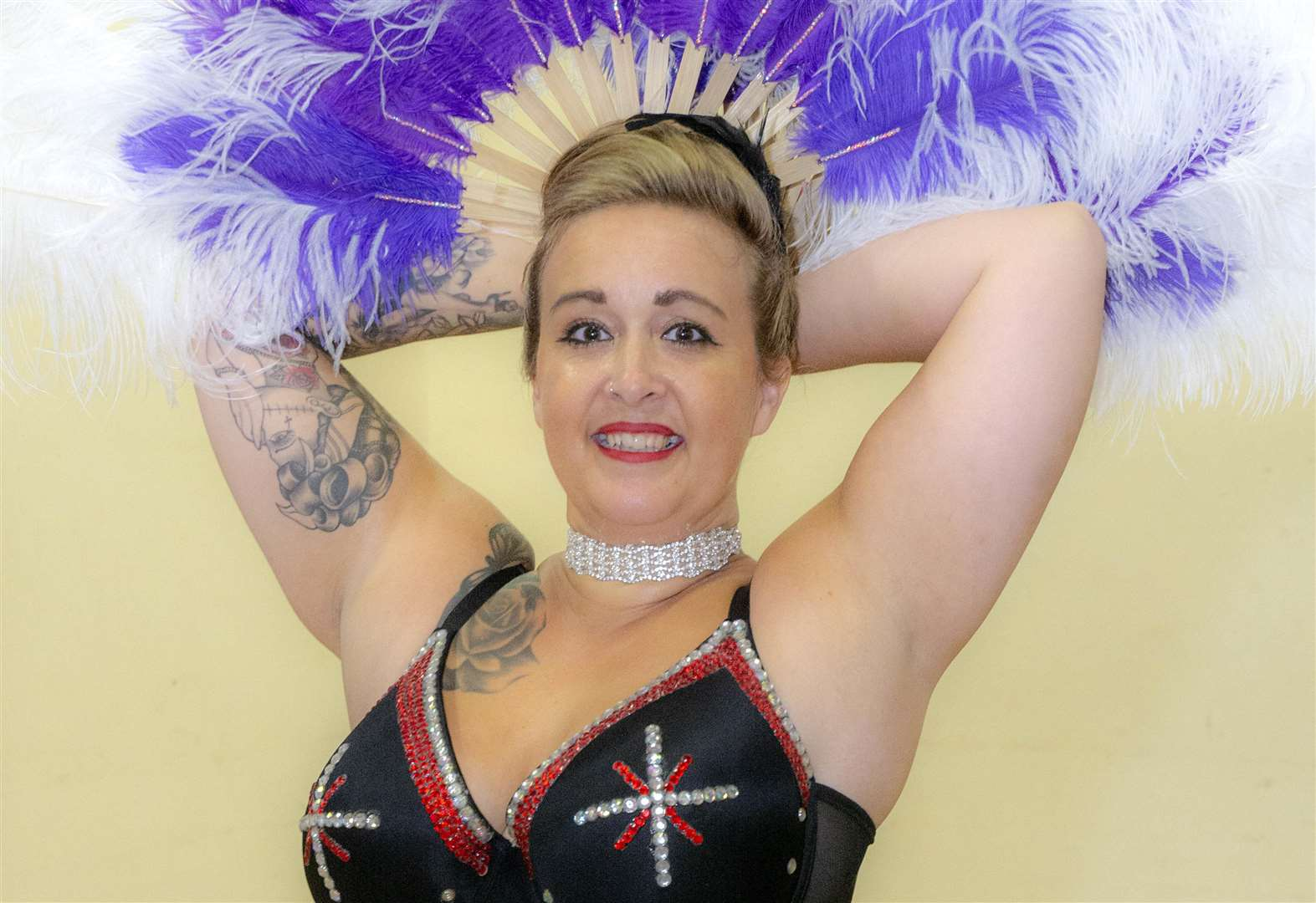 Ellie from Stamford gives first aid in burlesque costume