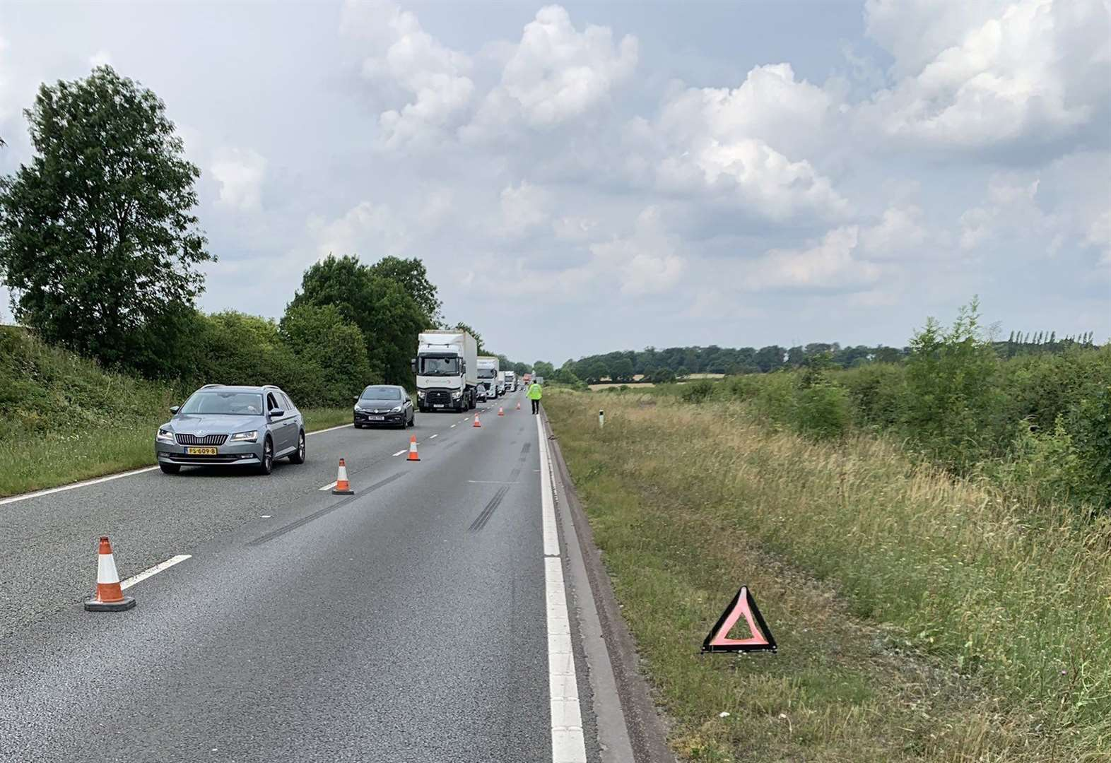 One lane closed on the A1 in Rutland