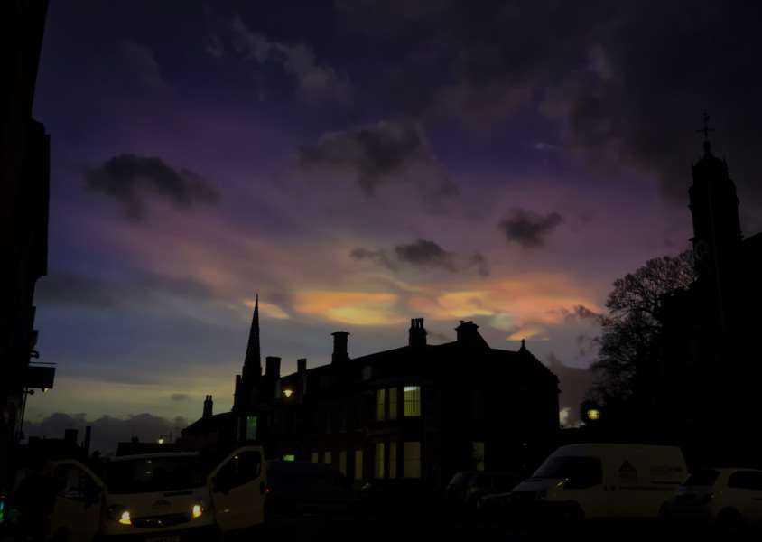 Jonathan Burley's photos of iridescent clouds over Stamford on Monday, February 1 EMN-160202-102151001
