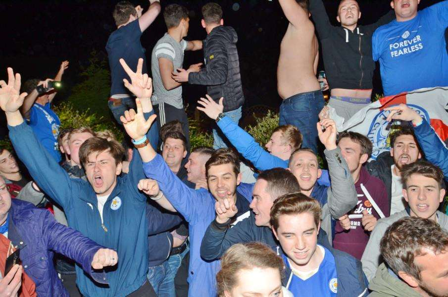 Fans party outside Jamie Vardy's house at Melton Mowbray after Leicester are crown Premiership champions EMN-160305-082333009