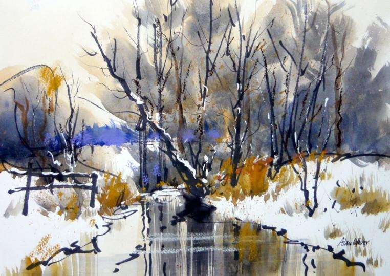 Alan Oliver's painting of the River Guash at Casterton EMN-150223-151208001