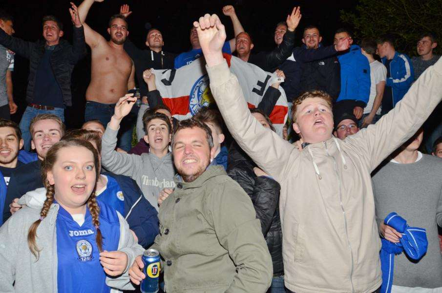 Fans party outside Jamie Vardy's house at Melton Mowbray after Leicester are crown Premiership champions EMN-160305-082310009