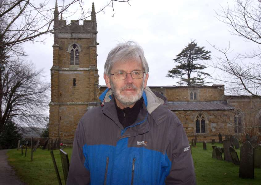 Churchwarden Stuart Evans outside St Mary The Virgin in Nether Broughton which had about five-and-a-half tonnes of lead stripped from its roof during the early hours on Monday EMN-160903-131438001