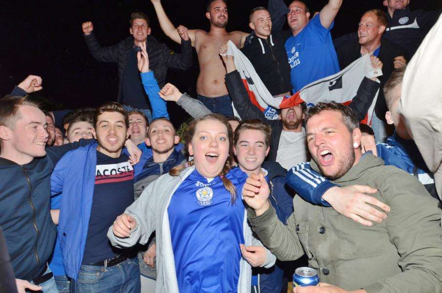 Fans party outside Jamie Vardy's house at Melton Mowbray after Leicester are crown Premiership champions EMN-160305-082258009