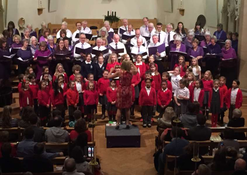 Chater community choir is joined by members of Edith Weston Primary School choir for its 2015 Christmas concert in Oakham School chapel