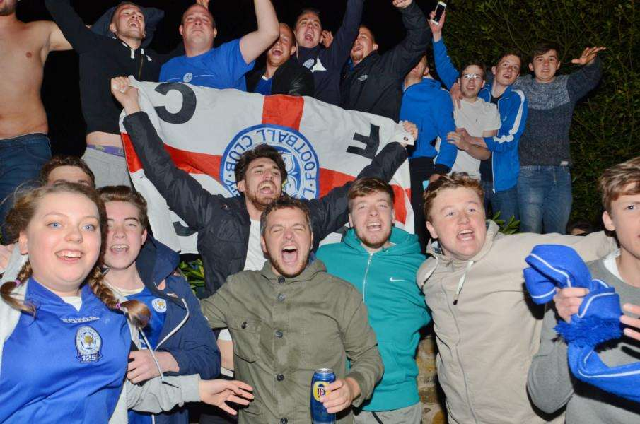 Fans party outside Jamie Vardy's house at Melton Mowbray after Leicester are crown Premiership champions EMN-160305-082243009