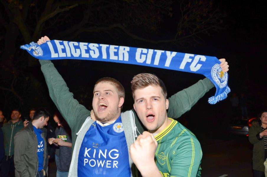 Fans party outside Jamie Vardy's house at Melton Mowbray after Leicester are crown Premiership champions EMN-160305-082425009