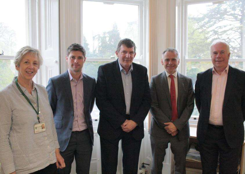 From left to right: Libby Kingsley, Rutland County Council's Digital Rutland project manager, Alex Jackman, senior public affairs manager, EE, Rutland County Council leader Oliver Hemsley, Roger Formby, account director, BT and Paul Bimson ,BT's regional partnership director East Midlands