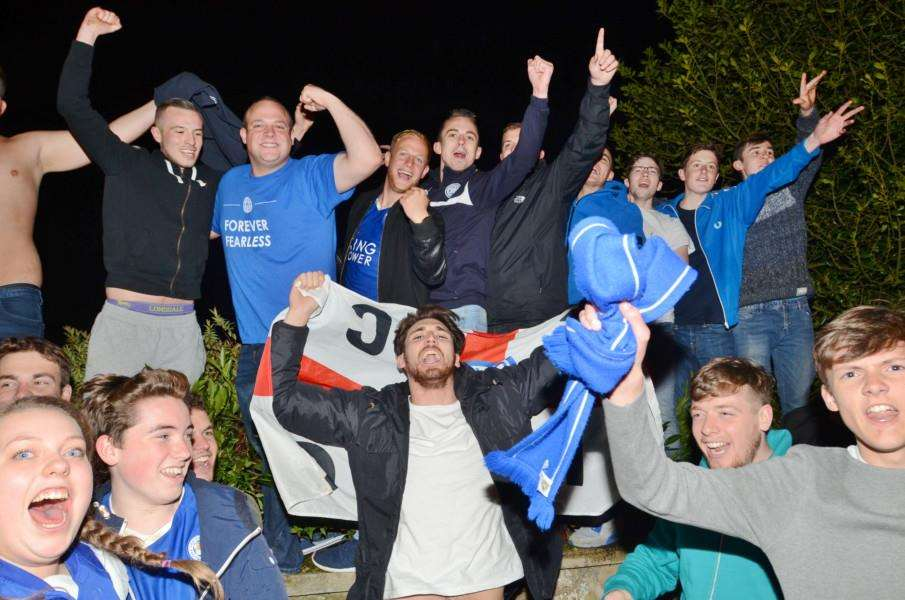 Fans party outside Jamie Vardy's house at Melton Mowbray after Leicester are crown Premiership champions EMN-160305-082231009